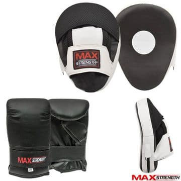 Focus Pads set with Bag Gloves Hook Jab Curved Training Mitts Junior