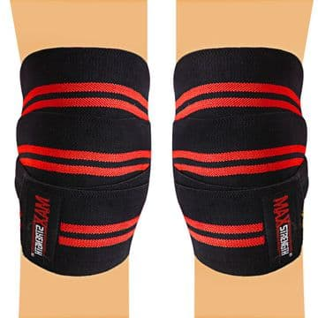 Knee Wraps Weight Lifting Available in Contrast Black/Red Color PAIR