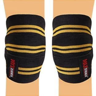 knee wraps weight lifting Available in Contrast Black with Yellow Lines