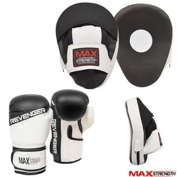 T55/A Boxing Gloves and Focus Pads set Hook Jab Training Curved Mitts in Black Colour
