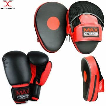 T55/D Boxing Gloves and Focus Pads Set Punching Training Kit Red/Black