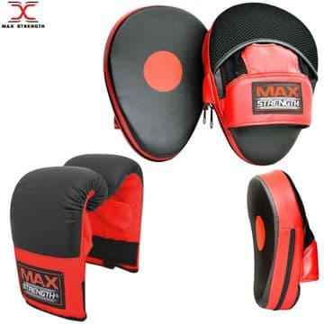 T57/A Boxing Punching Training Kit Focus Pads and Bag Gloves Red/Black Senior size