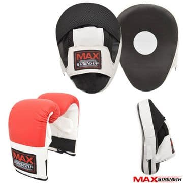 T57 Bag Gloves and Focus Pads set Hook Jab Training Curved Mitts Red