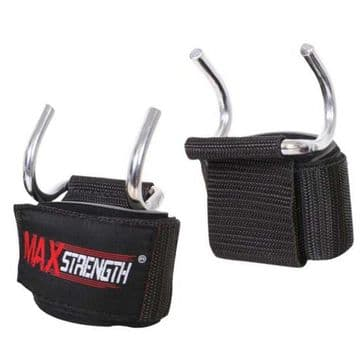 Weight lifting Hooks Bar Grippers Made of High Quality Steel Cudra Available in Black Colour, By Maxstrength