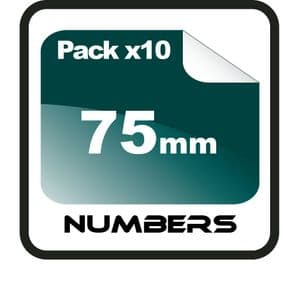 7.5cm (75mm) Race Numbers - 10 pack