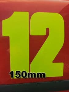 Fluorescent 15cm (150mm) Race Numbers (1 to 10) - MSA SPEC