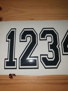 Race Number with Outline 5 inch