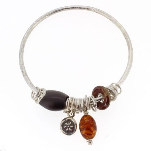 Amber bangle handmade silver with Picasso jasper and wooden bead 3mm rod