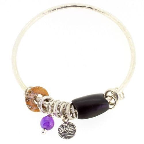 Amethyst bangle sterling silver & hand carved wooden bead 3mm rod