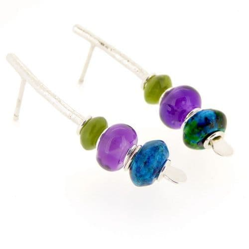 Amethyst earrings with nephrite jade sterling silver medium arc shape