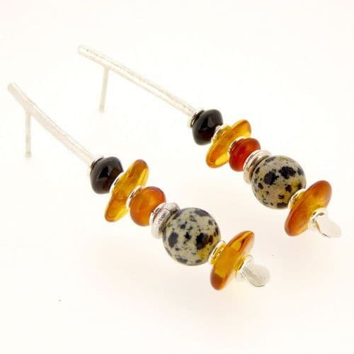 Carnelian & amber earrings handmade silver large arc shape