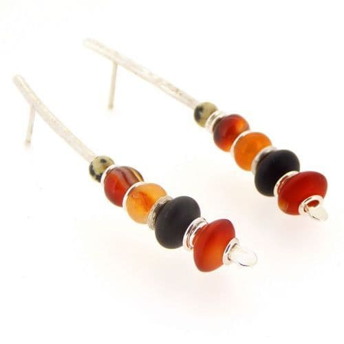 Carnelian earrings with black onyx silver large arc shape