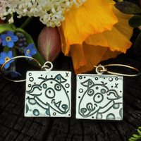 Dog earrings, large Rex and Tippy, polished silver
