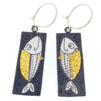 Fish Earrings artist design handmade long silver and 24 carat gold