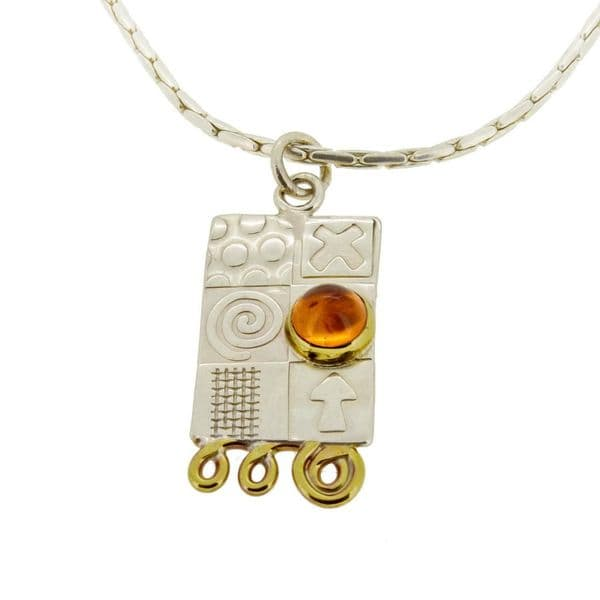 Handmade sterling silver amber pendant with silver chain