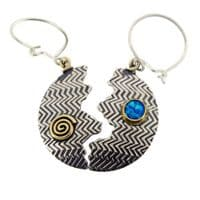 Large Zigzag halved silver earrings