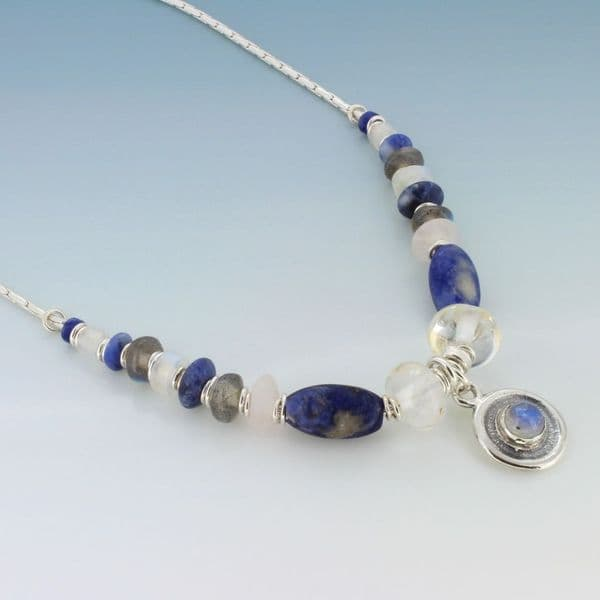 Moonstone necklace silver chain & setting with lapis lazuli J & D Field