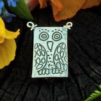 Owl brooch, polished silver
