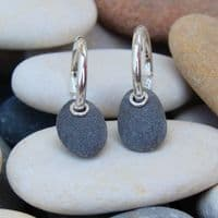 Pebble earrings natural stone sterling silver hoop sleepers