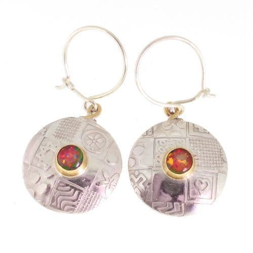 Round earrings, handmade sterling silver with red opal triplets