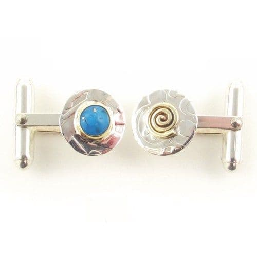 Round sterling silver mismatched disc cufflinks with Turquoise