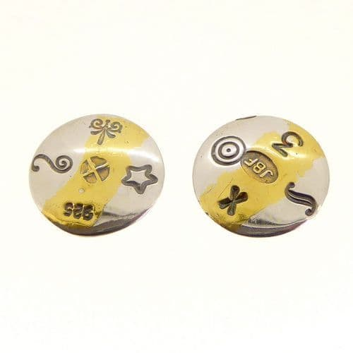 Silver and  24 carat gold round convex ear studs