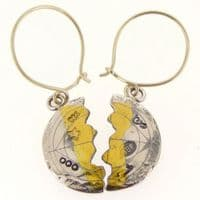 Silver gold unique halved earrings,  scribed antique style, small