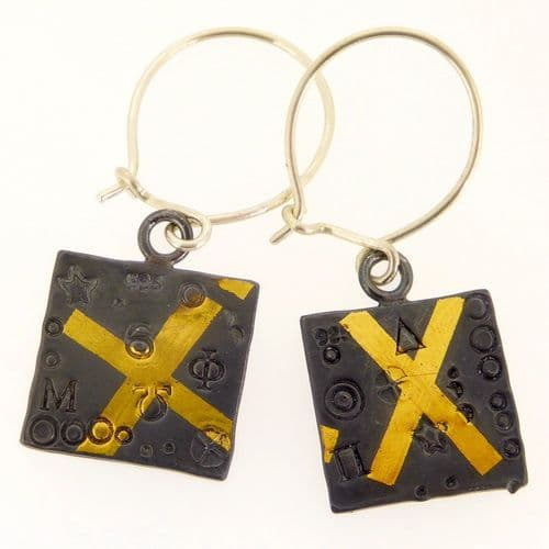 Square earrings oxidised keum boo silver and gold cross
