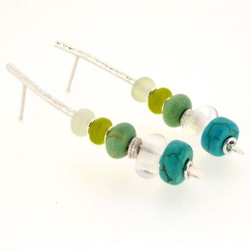 Turquoise & rainbow crystal earrings handmade silver large arc shape