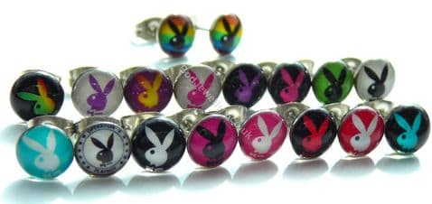 316L Stainless Steel Acrylic Playboy Bunny Stud Earrings 17 Colours