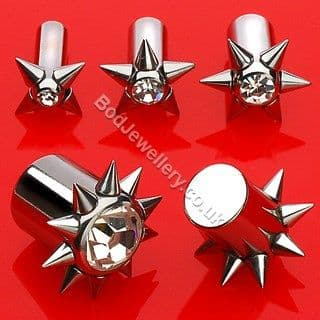 316L Steel Plug Tunnel With Clear Gem And Spikes 3mm - 10mm