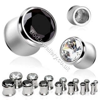 316L Surgical Steel Saddle Plug Tunnel with Gem 2 Colours 3mm - 12mm