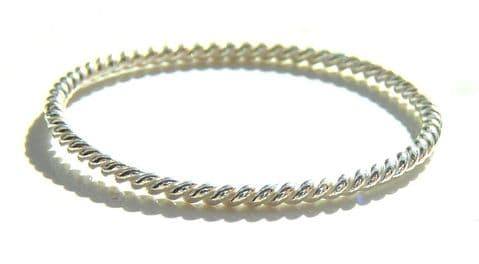925 Sterling Silver 1mm Twisted Band Ring, Size L - T