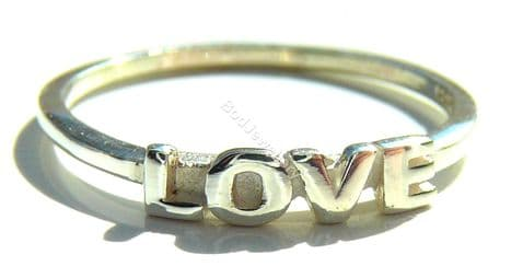 925 Sterling Silver Bold Love Ring, Size R