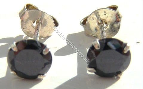 925 Sterling Silver Earrings Round Black 5mm CZ