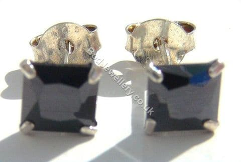 925 Sterling Silver Earrings Square Black 5mm CZ