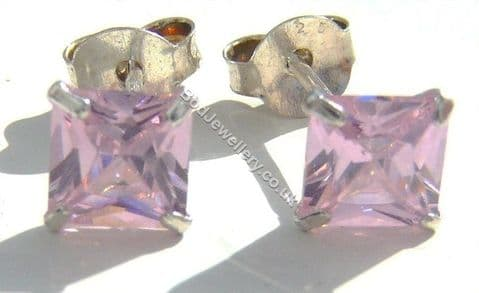 925 Sterling Silver Earrings Square Pink 5mm CZ