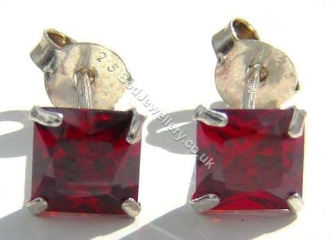 925 Sterling Silver Earrings Square Red 5mm CZ