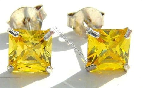 925 Sterling Silver Earrings Square Yellow 5mm CZ