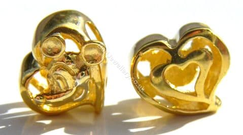 925 Sterling Silver Gold Plated Heart Charm Bead