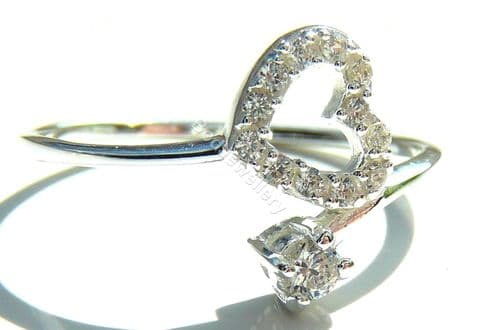 925 Sterling Silver Heart CZ Ring, Size L - R
