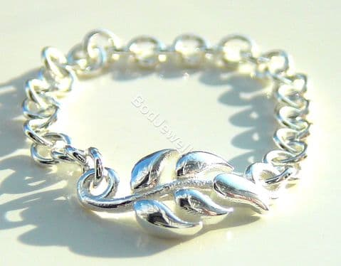 925 Sterling Silver Leaf Chain Ring, Size K - R