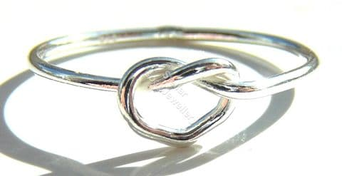 925 Sterling Silver Love Knot Ring, Size J - R