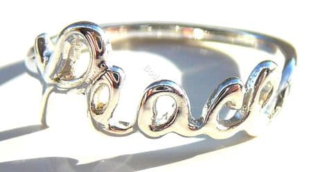 925 Sterling Silver Peace Ring, Size J - T