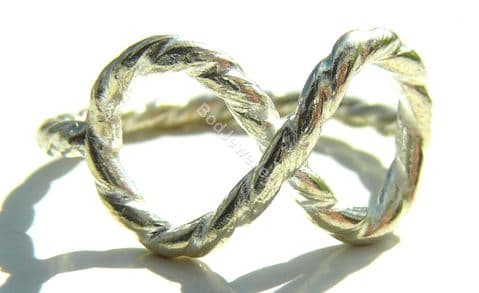 925 Sterling Silver Rope Infinity Ring, Size L - R