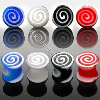 Acrylic Double Flare Swirl Ear Tunnel Plug 4 Colours 4mm to 8mm