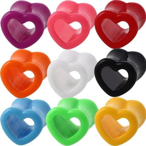 Acrylic Heart Saddle Ear Tunnel Plug 3mm to 25mm 9 Colours