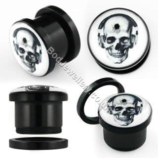 Acrylic Screw Fit Skull Tunnel Plug 4mm - 19mm
