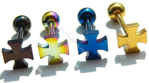 Anodized Steel Cross Tongue Bar Piercing 4 Colours 16mm