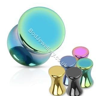 Anodized Steel Saddle Ear Tunnel Plug 5 Colours 3mm - 12mm